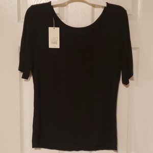 Womens A New Day Black Scoop Neck Top